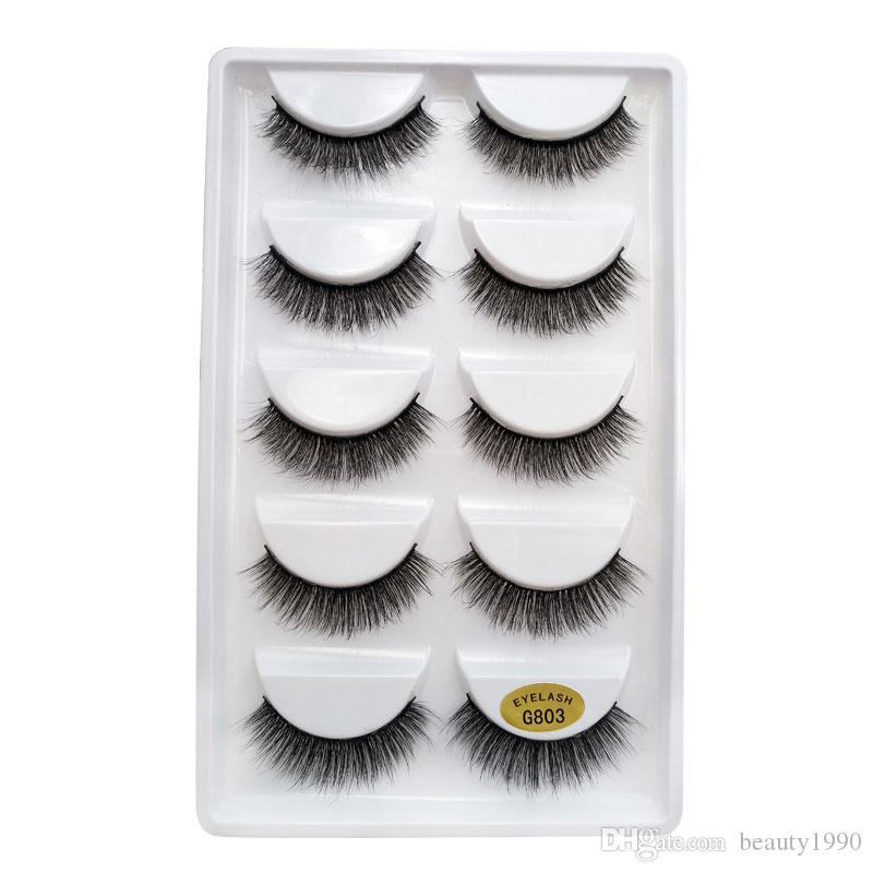 3D Mink False EyeLashes Thick Plastic Black Cotton Full Strip Fake Eye Lashes For Party Cosmetic Make Up Tool With Box G800
