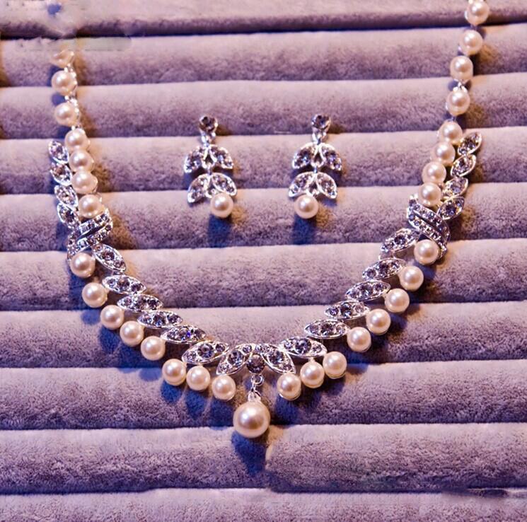 Moda Kryształ Pearl Kolczyk Bridal Neaslace Accessoreis Bridal Wedding Bride Biżuteria Akcesoria Dekoracja Party