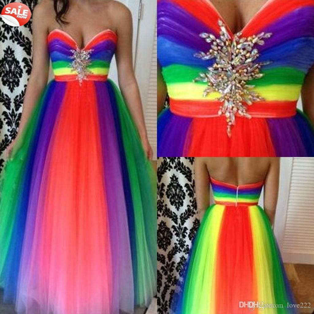 Bright Sweetheart Empire Waist A Line Rainbow Color Prom