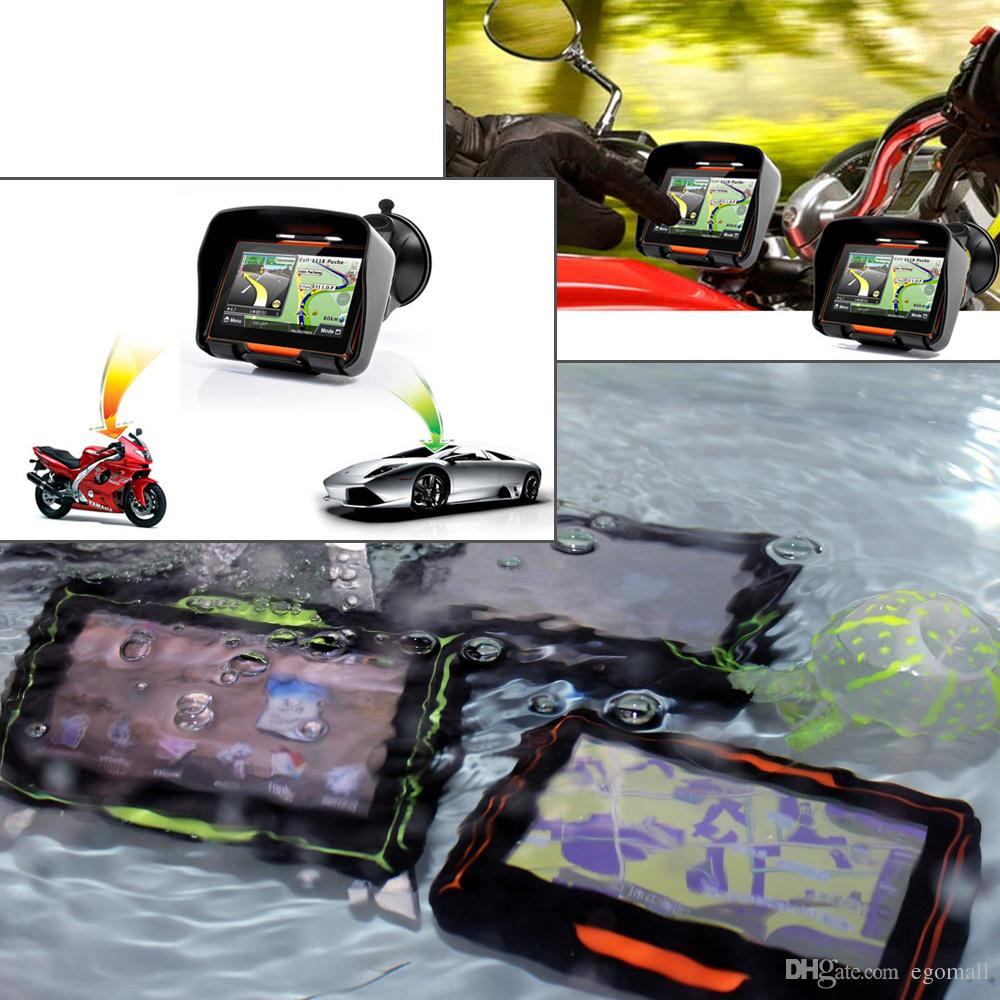 New 256M + 8GB + FM! 4.3 Inch Waterproof IPX7 Bluetooth GPS Navigator for Motorcycle Installed Maps