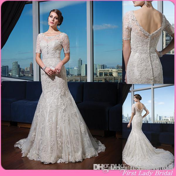 Sheer Wedding Dresses 2015 New Short Sleeves Champagne Lace Mermaid ...