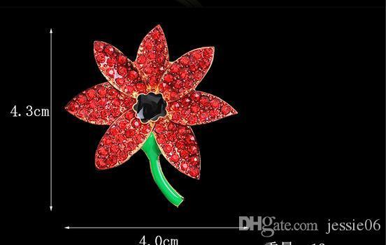 Femmes enfants bling Cristal Strass Broches Princesse Kate royal pavot fleur broche charmes bijoux dame enfants Chirstmas fête