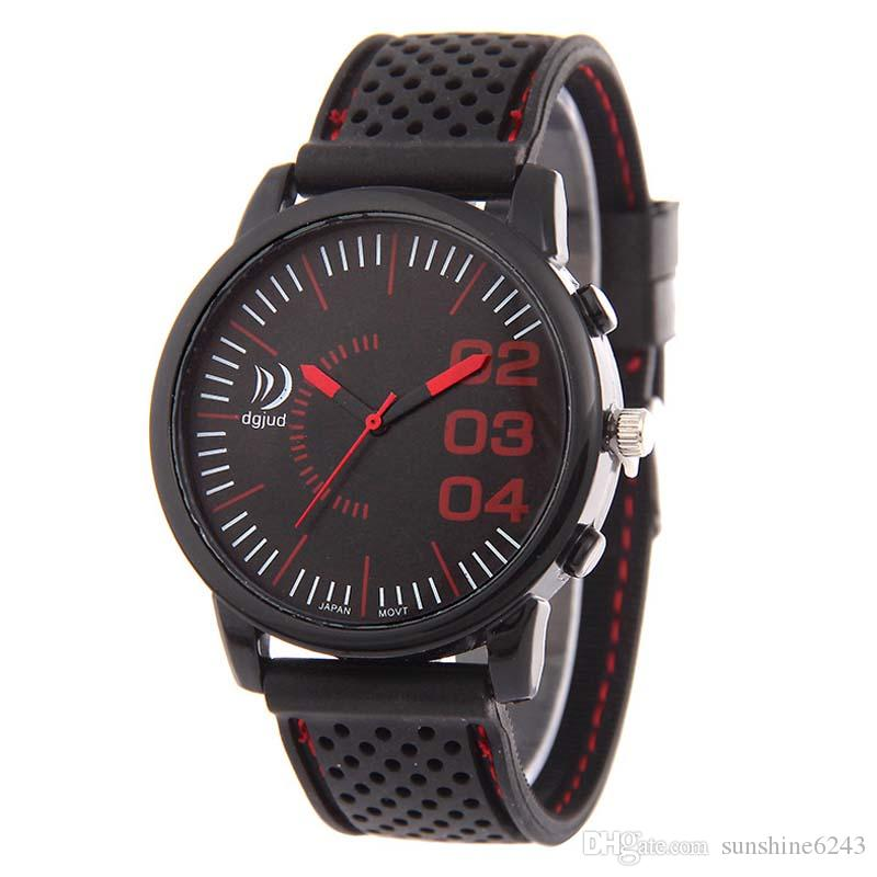 Wholesale mens men silicone sport watches Fashion Multi Colors rubber racing watch Military army New style students wrist watches for men