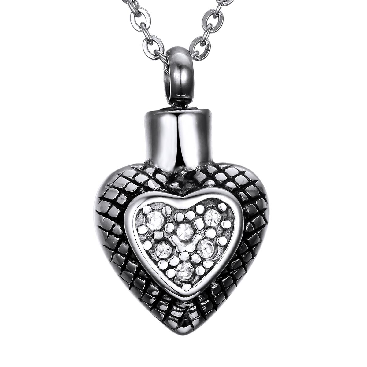 Lily Cremation Jewelry Urn Retro diamond heart shaped Memorial Pendant Ashes Necklace Keepsake & Chain Necklace with a Gift Bag