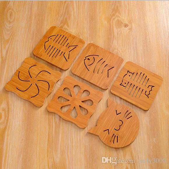 Stencil wooden cup mat kitchen with thick anti ironing heat insulation pads