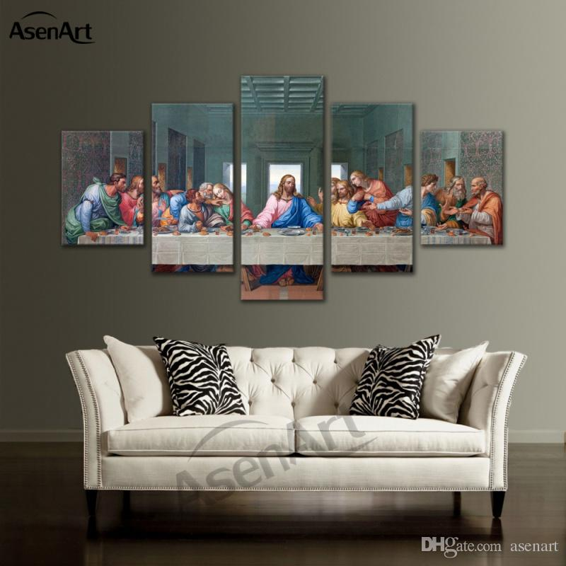2018 Large Framed Canvas Art Christian The Last Supper Jesus Canvas ...