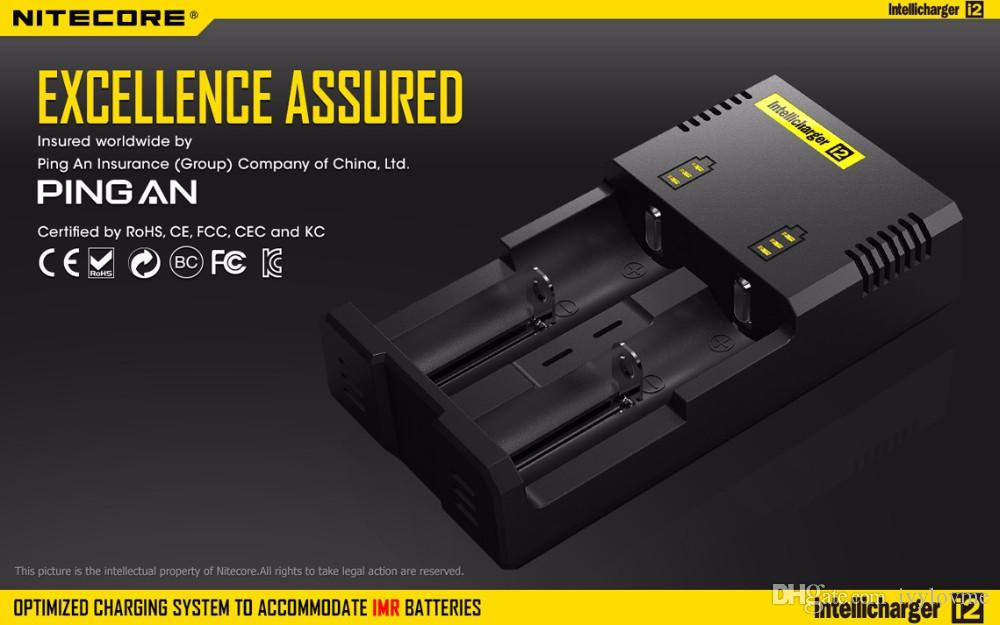 Authentic Nitecore I2 Universal Intelligent charger Charger for lg hg2 18650 14500 16340 26650 Battery Multi Function Charger US UK EU plug