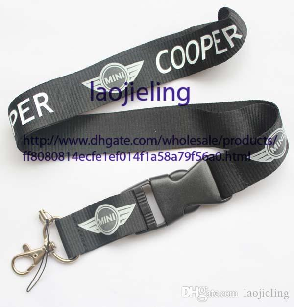 NEW Wholesale car logo MINI Cooper Key Chain Lanyard Cell Phone Ipod Strap Neck Pass Logo Keychain ID