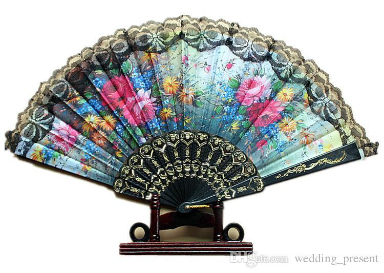Fan di nozze di pizzo nero Ladies mano danza fan pieghevole Fan Bun Fame retrò regalo di matrimonio turismo ospite a mano