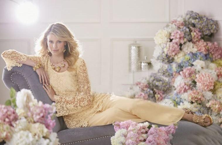 Mutter der Braut Kleider Hose Anzüge 2019 Custom Made Vintage Formal Capped mit langen Ärmeln Chiffon Spitze Kleider für Hochzeitskleider