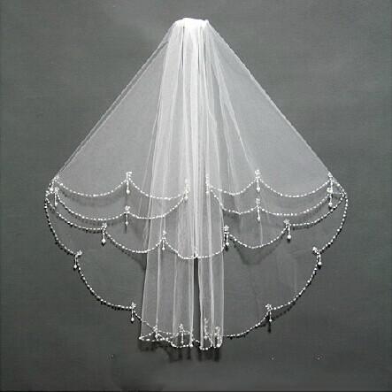Três camadas véus de noiva marfim e cor branca perolização lantejoulas ombro comprimento casamento nupcial acessórios véus de noiva