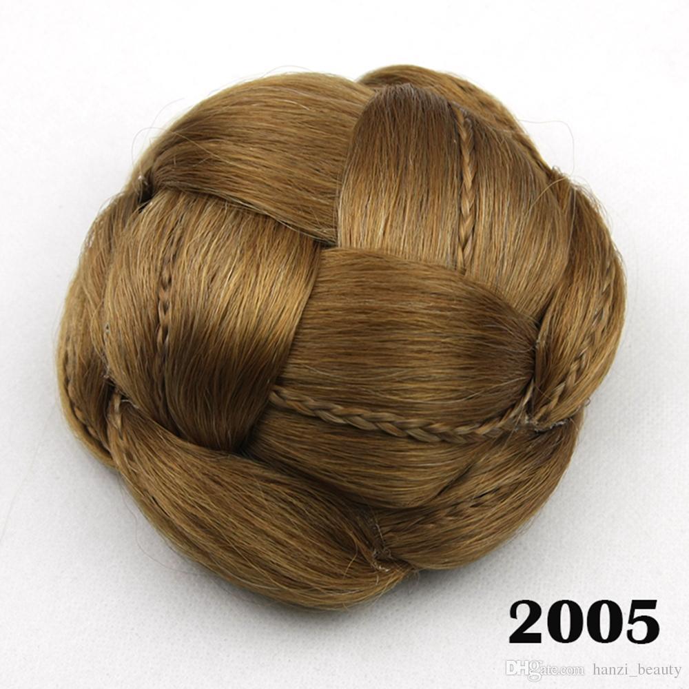 hanzi_beauty Clip In Fake Hair Bun Black Brown Synthetic Hair Braided Chignon Hair Donut Roller Hairpieces for Women
