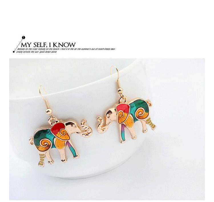 NEW punk style fashion 18KGP / 925 silver lifelike Drip Rainbowful Elephant jewelry set alloy necklace earrings accessories for women