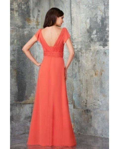 2016 جديدة رخيصة الساخن بيع الأزياء shippping مجانا خط قصير الأكمام الخامس الرقبة الشيفون الطابق طول فستان العروسة مع زهرة BD0785