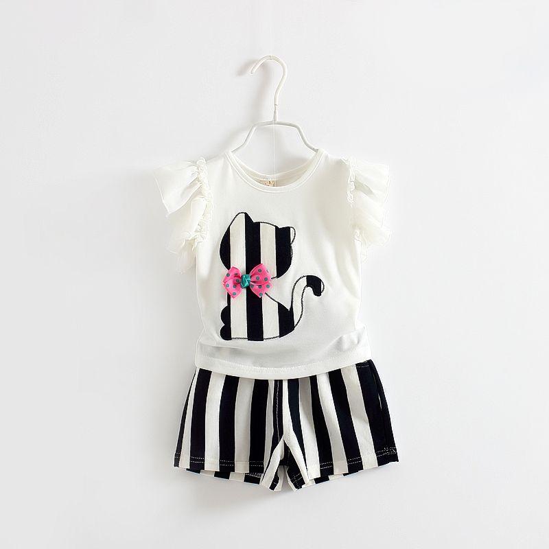 4bc3cfa2641e 2019 Summer Girl T Shirt+Short Pant Set 100% Cotton Children Short Sleeve  Cat Stripe Clothes Suit 4s L From Choicegoods521