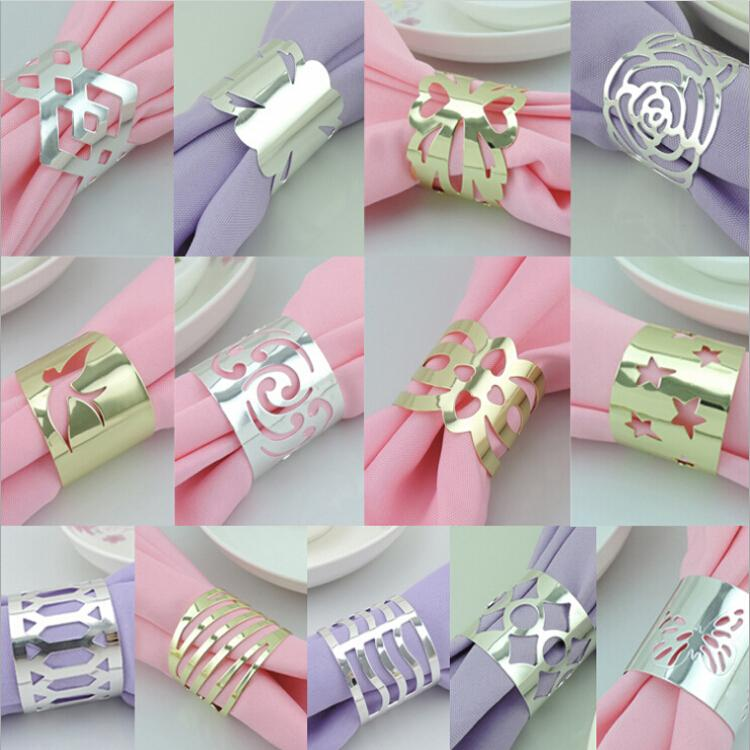 Napkin Folding Ideas For Weddings: Metal Hollow Flower Gold And Silver Plated Napkin Rings