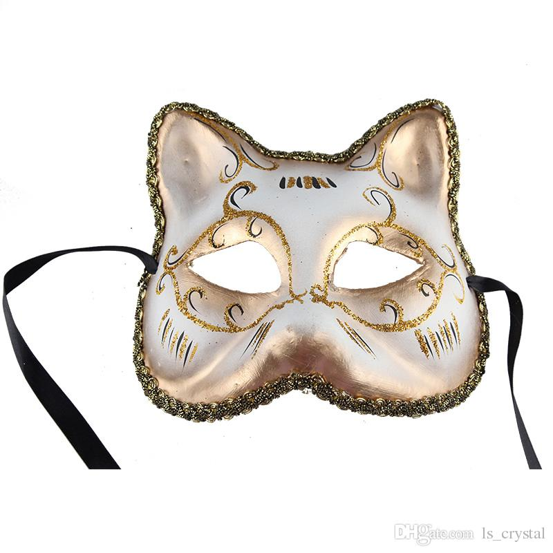 European Christmas Cat Face Women Mask Half Face Venice Masquerade Party Sexy Beauty Mask Halloween Festive Favors 10pcs/lot SD421