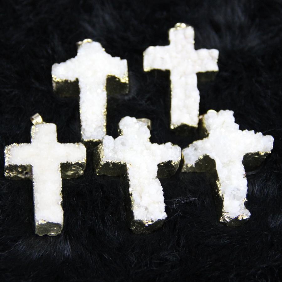On Sell Gems Stone, Druzy White Crucifix Agate Women Connector, Crystal Quartz Drusy Agate Pendants Necklace Drop Pendant