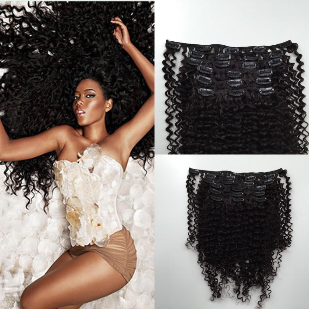 Brazilian Virgin Hair Kinky Curly Clip In Human Hair ...