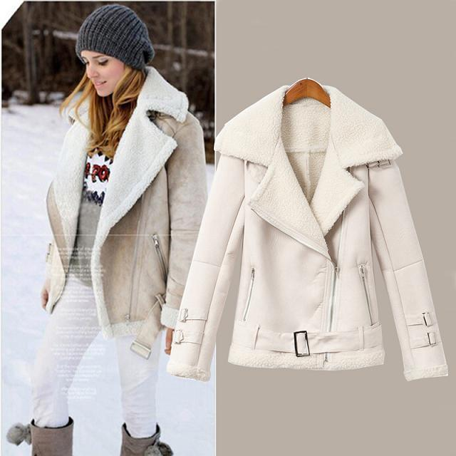 2017 2014 Fashion Brand Women Suede Jacket Faux Fur Inside Warmth ...