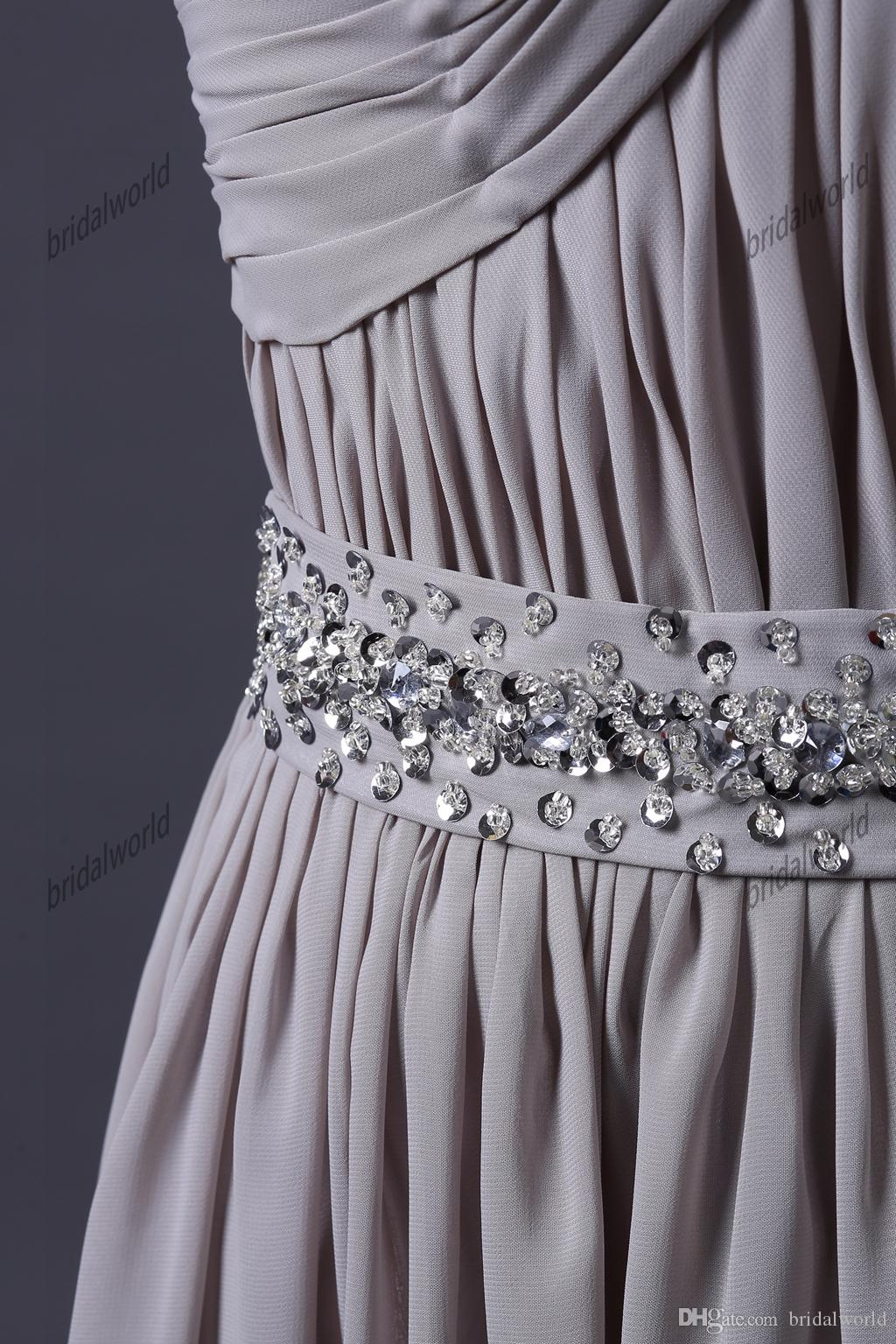 Dresses for Mother of the Bride Gray Floor Length Evening Gowns Strapless Chiffon A-line Beaded Waist Mother of Groom Dresses Custom Made