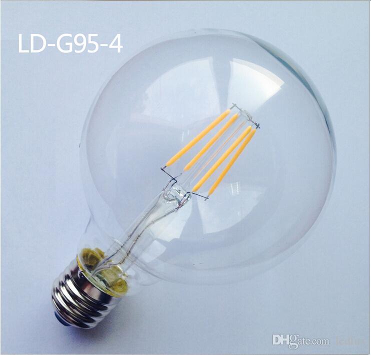 عكس الضوء g95 110 فولت 220 فولت e27 e26 b22 4 واط 6 واط 8 واط 10 واط دافئ الأبيض led اديسون الرجعية التنغستن خيوط مصباح لمبة