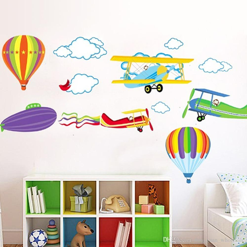2016 Cartoon Airplane and Hot Air Balloons Removable Wall sticker Vinyl Decals For Kids Room Boys Home Decoration Mural
