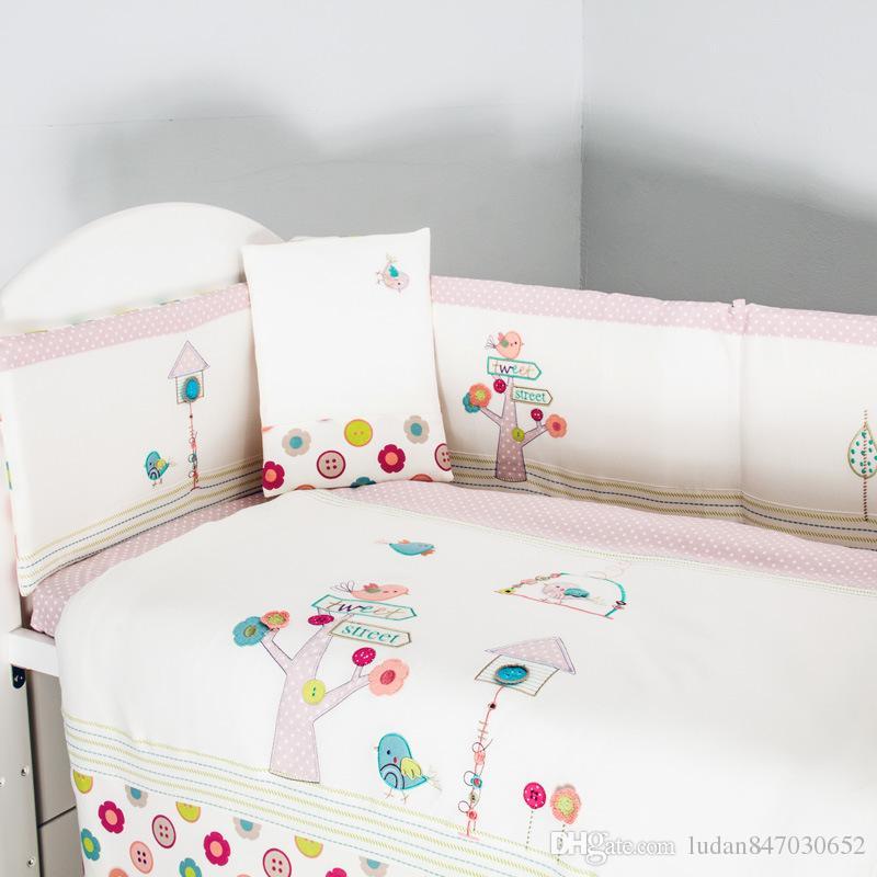 Pink 100% cotton Embroidery bird flowers baby bedding set quilt pillow bumper bed sheet 5 item crib bedding set