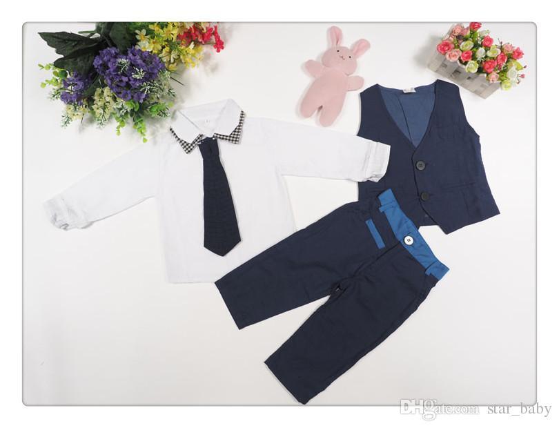 End-March in Stock Handsome Boys Sets White Cotton Shirt+Vest+Necktie+Pants Gentleman Suit Outfits Autumn Winter Clothing K2986