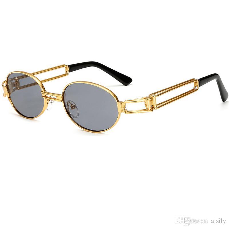 Compre Vintage Pequeno Steampunk Óculos De Sol Oval Óculos De Sol Das  Mulheres Dos Homens Retro Gótico Óculos De Sol Armação De Ouro Eyewear Punk  Rosa ... 6f25f23d3f