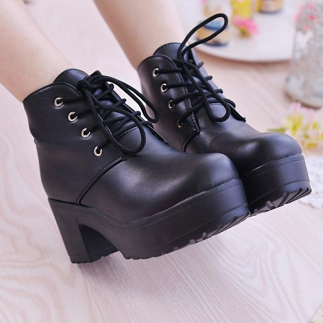 51592018088 New Fashion Black White Punk Rock Lace Up Platform Heels Ankle Boots ...