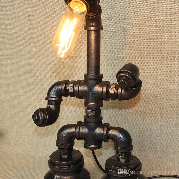 Vintage Water Table Lamps Water Pipe Table Lamp Edison Light Bulb Lamp Retro Iron Pipe Creative Personality Loft Bar Cafe Table Lamp