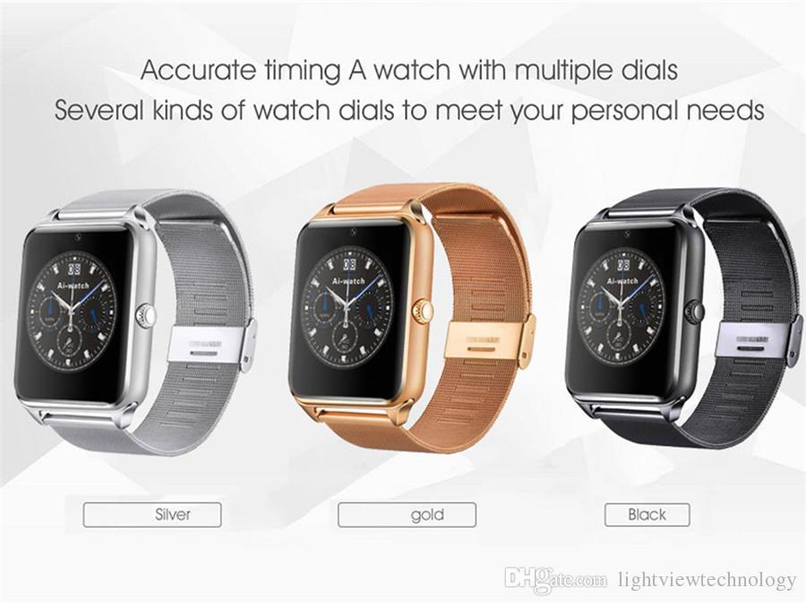 Bluetooth smart watch phone z60 suporte de aço inoxidável sim tf cartão de câmera rastreador de fitness vs gt08 dz09 a1 smartwatch v8 para ios android