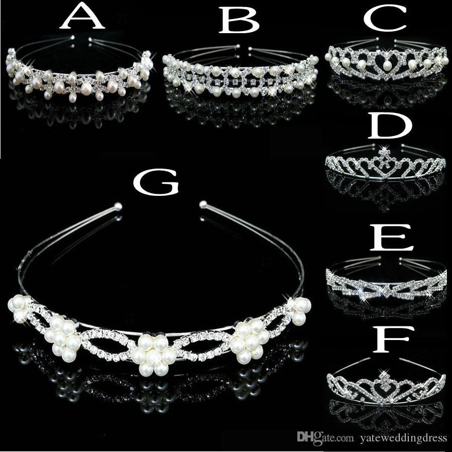 8 estilos baratos nupcial tiara cristales y perlas accesorios de cabeza nupcial con cuentas 2016 evento formal del desgaste del pelo envío gratis Rhinestones