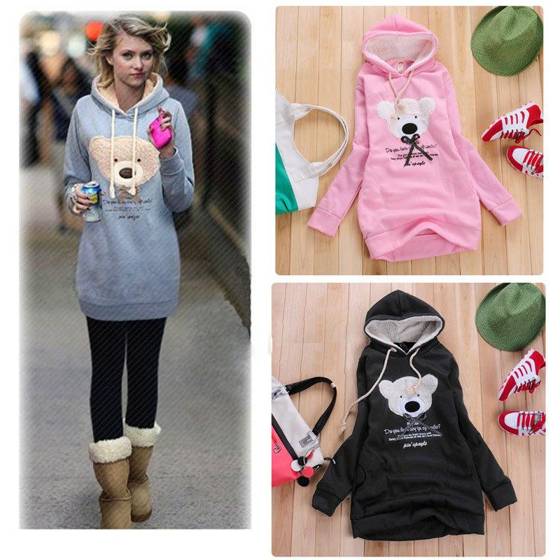 2018 New 2016 Fashion Cute Girl Fleece Hoodies Women Cute Bear ...