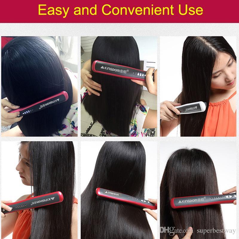 KD-388 Straightening Irons Tourmaline Ceramic Sandwich 6 Shifts TC Control Mode Hair Straightener Tool Red White DHL Free OTH144