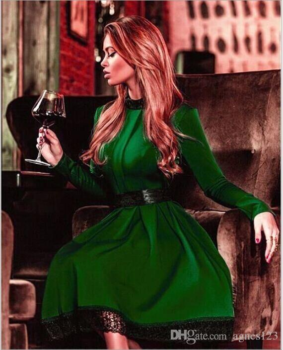 69f3f80a98 2019 New Winter Green Dress High End Fashion Brands With Paragraph S XL  Lace Dress Three Dimensional Casual Dress From Agnes123