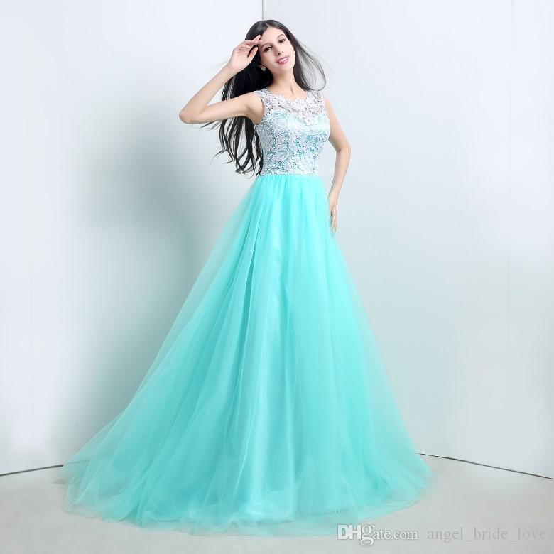 2015 New Stock Elegant A-Line Mint Green Lace Evening Dresses With Appliques Floor-Length Cheap Prom Party Gowns Vestidos De Festa