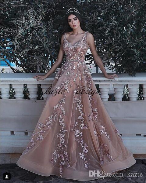 Said Mhamad Champagne Nude Long Evening Formal Dresses 2018 Luxury Lace Beaded Embroidery Elegant Plus Size Prom Gowns Evening Dress Gown Evening