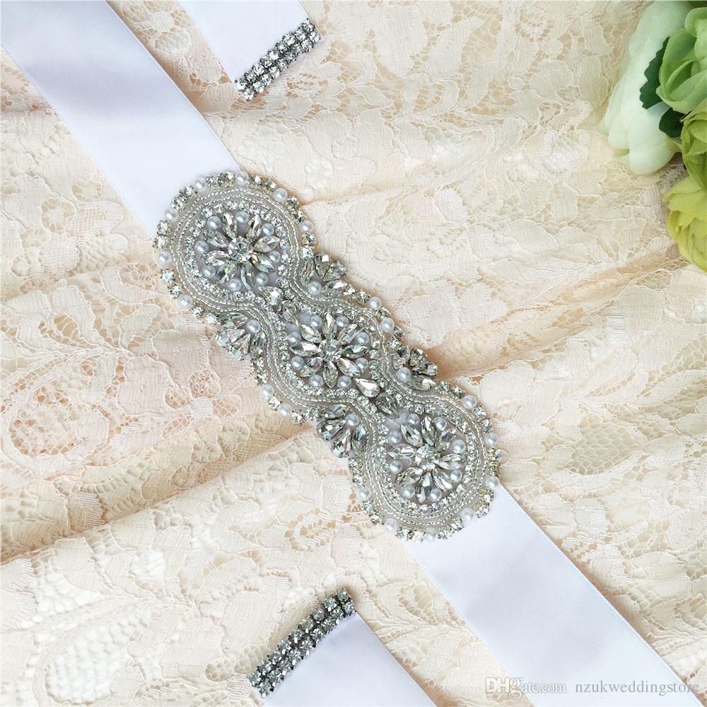 2018 HOT DIY S47 ribbon Applique Arrival Diamonds beauty Crystal handmades Wedding Sash satin Fabric Bride Sash Handmade Belts