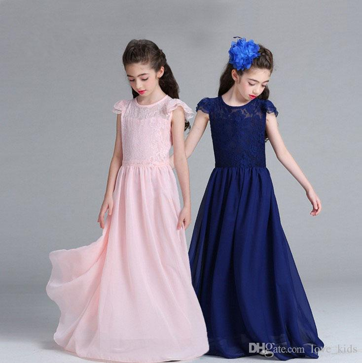 Wholesale Big girls ball gown children prom long dresses kids lace skirts girl's boutiques dress Wedding dress hot sale
