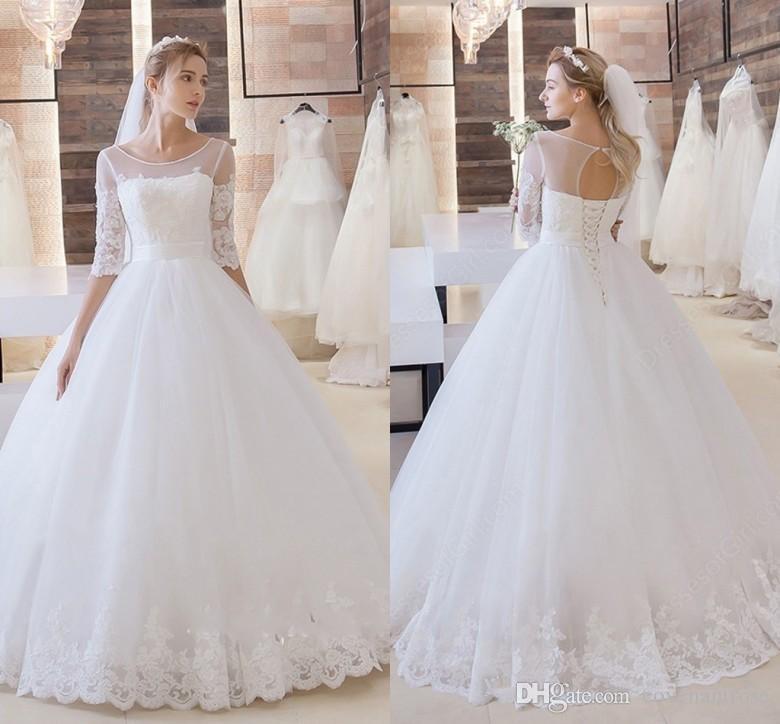 Stunning Princess Wedding Dresses Scoop Lace Up Floor Length Half