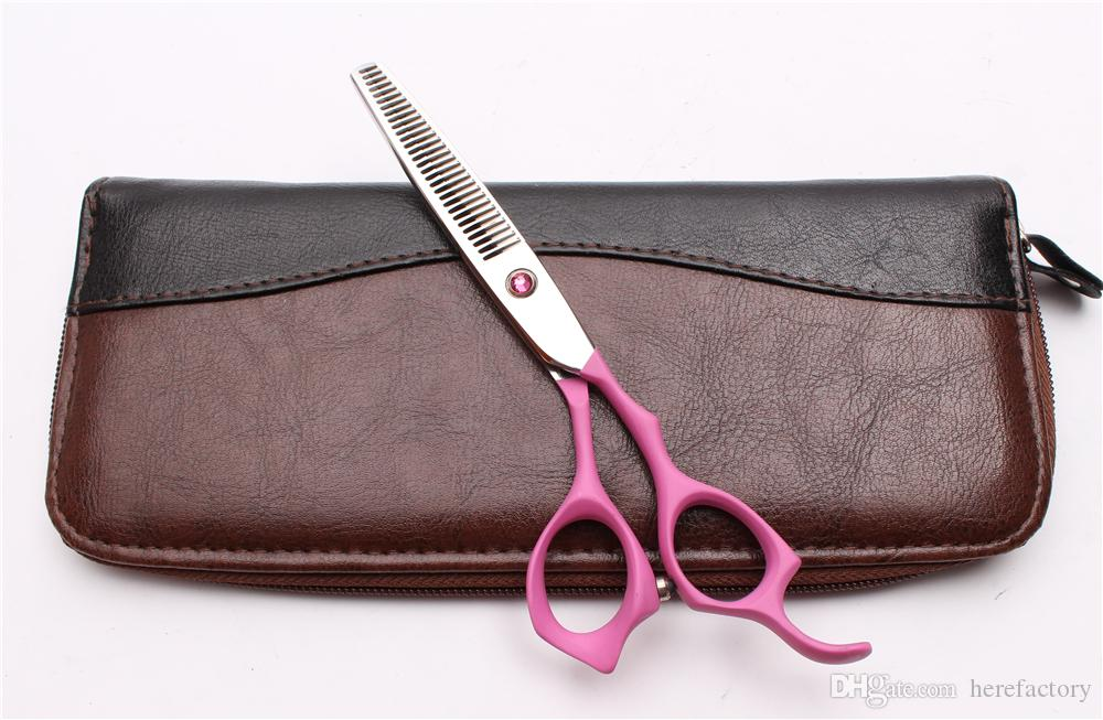 """6"""" Japan 440C Customized Logo Pink Professional Human Hair Scissors Barbers' Hairdressing Scissors Cutting Thinning Shears Style Tools C1024"""