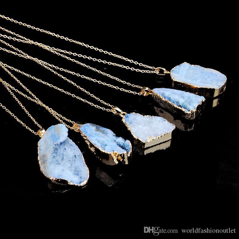 جديد كريستال كوارتز الطبيعية شفاء نقطة شقرا الخرزة قلادة الأحجار الكريمة قلادة الأصلي الطبيعي على غرار حجر قلادة القلائد سلاسل مجوهرات