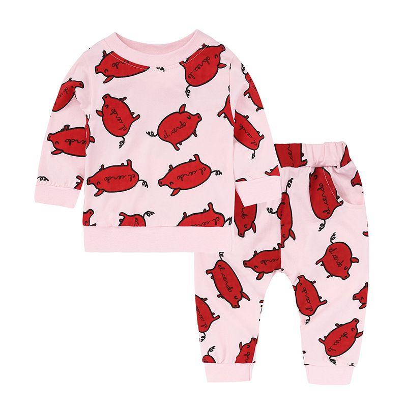 2018 Pembe Dudaklar Bebek Kız Giysileri Setleri Çocuklar Hoodies Kazak Tops + Pantolon Pamuk Yenidoğan Bebek Cips Giyim Suit Çocuk Bahar Kıyafetleri