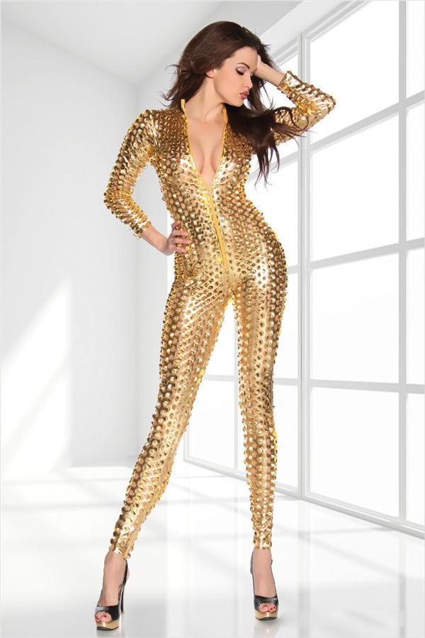Sexy Fetiche Metálico 3D Intrincadamente Artesanato PUNK Catsuit Conjuntos de Traje Bodysuit Macacão Clubwear Preto / Ouro / Prata 3 Cores macacões apertados