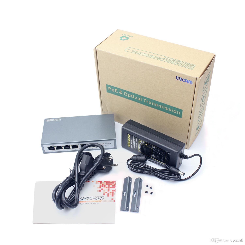 ESCAM 6CH POE Interruptor 10/100 M 150 m de Distância 85 W DC para POE para Câmera IP Sistema de CCTV NVR POE Adaptador de Alimentação