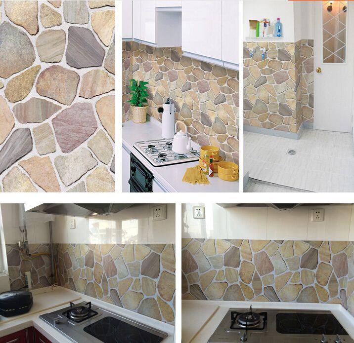 Compre modernos de piedra papel tapiz ladrillo vinilo - Papel para paredes de cocina ...