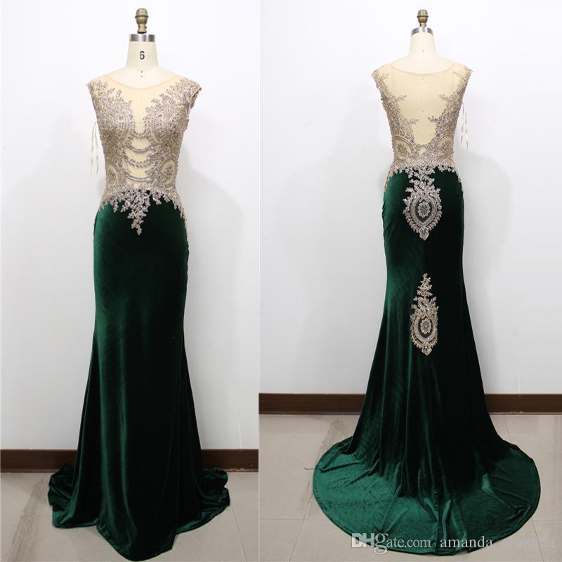 100%real Luxury Long Dark Green Velvet Evening Dress 2015 Sheer ...