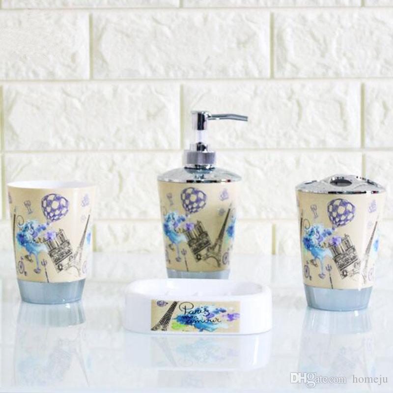 Plástico Conjunto de Acessórios Do Banheiro Set Banho Set Inlcude Toothbrush Titular Set Tumbler Saboneteira Saboneteira